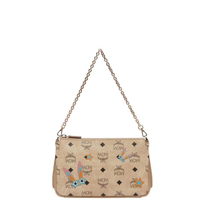 MCM Star Eyed Bunny Top Zip Shoulder Bag in Visetos MYZ8SME70IG001 AlternateView