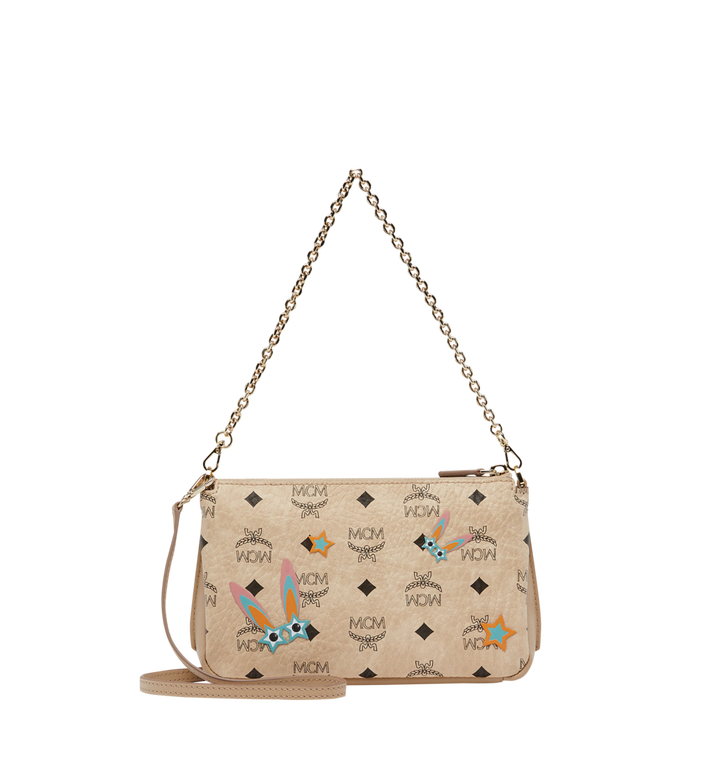 MCM Star Eyed Bunny Top Zip Shoulder Bag in Visetos MYZ8SME70IG001 AlternateView4