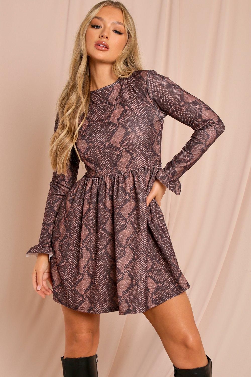 Snake Long Sleeved Smock Dress