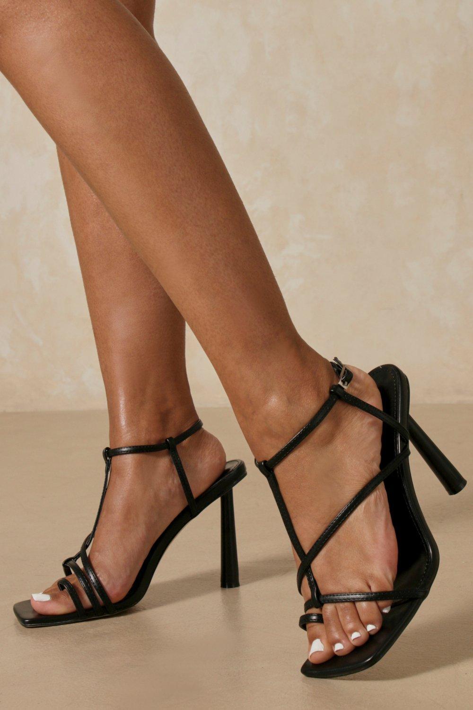 Strappy Toe Post Heels