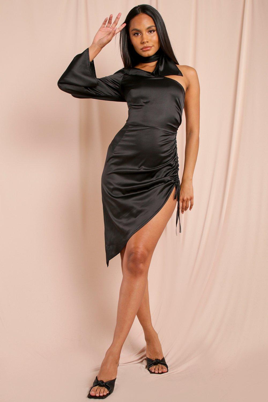 Satin One Shoulder Ruched Side Mini Dress