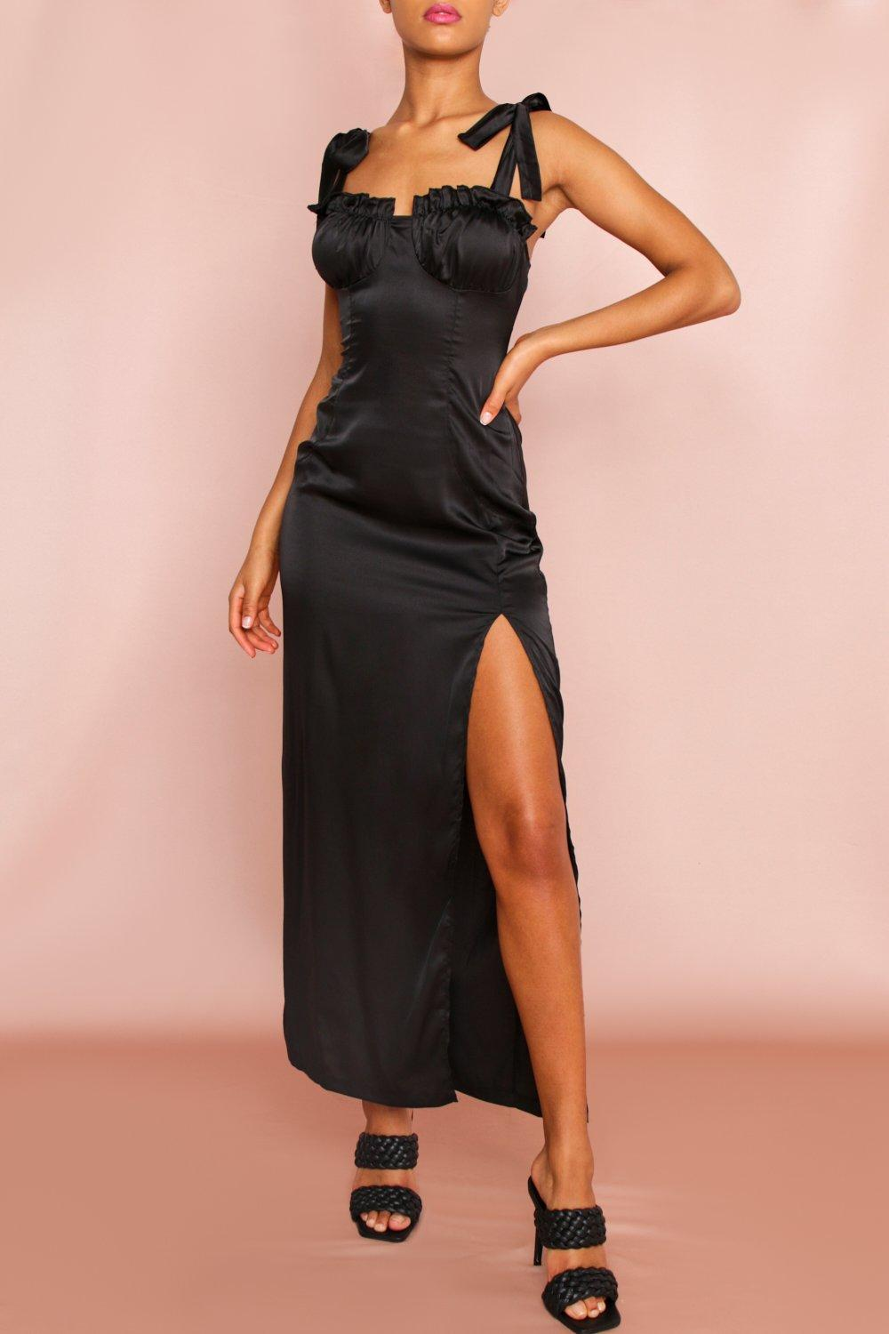 Ruched Bust Tie Strap Maxi Dress