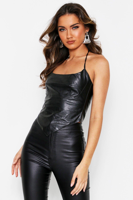 Faux Leather Halterneck Top