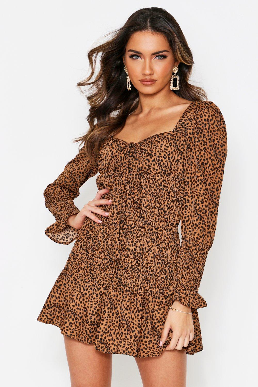 Leopard Print Shirred Frill Hem Dress