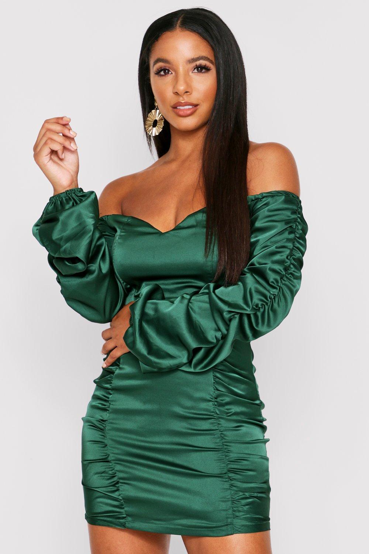 Ruched Panel Satin Bardot Bodycon Dress