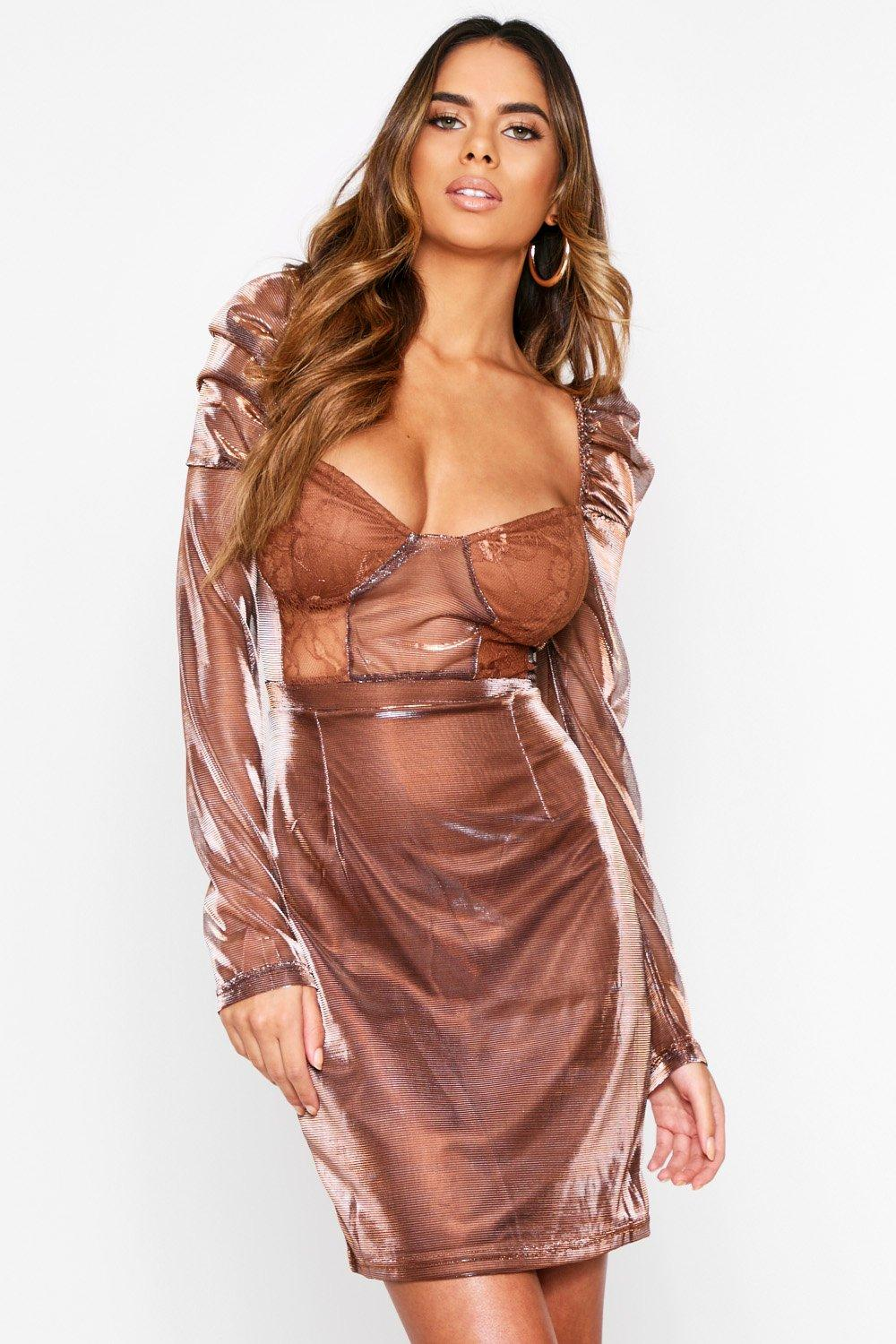 Metallic Cupped Mini Dress