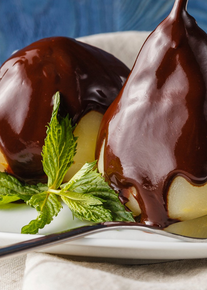 A Healthier Holiday Indulgence: Dark-Chocolate Covered Pears Recipe
