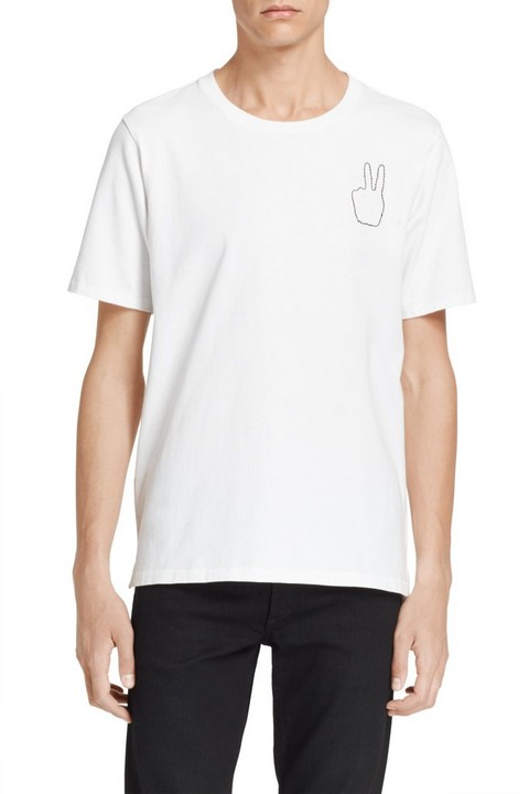 RAG & BONE PEACE EMBROIDERY TEE