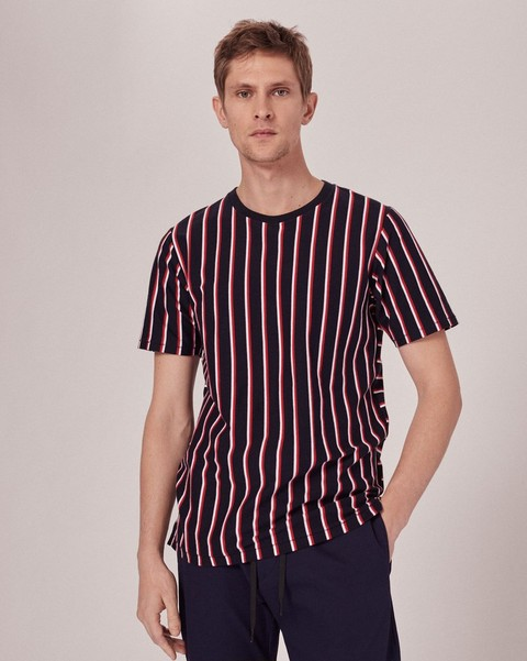 RAG & BONE DISRUPTED STRIPE T-SHIRT