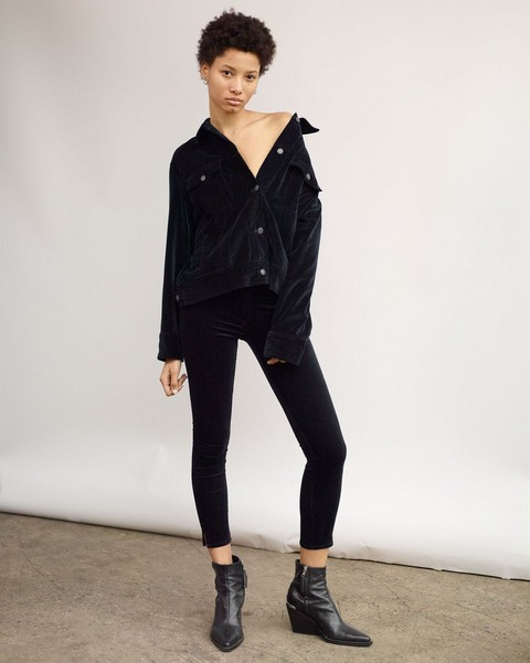 RAG & BONE VELVET HIGH RISE ANKLE SKINNY WITH SLIT