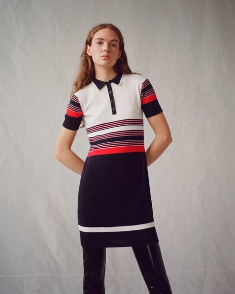 RAG & BONE KRISTA STRIPE POLO DRESS
