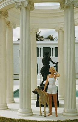 C.Z. Guest, 1955: The American socialite with a Great Dane at her ocean-front estate, Villa Artemis, Palm Beach