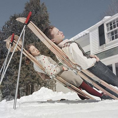 New England Skiing, 1955: Two women recline on improvised sunbeds in Cranmore Mountain, New Hampshire