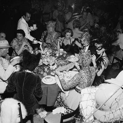 Safari Party, circa 1950: Guests at a fancy dress party held at the Romanoff Restaurant in Hollywood