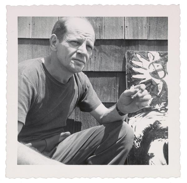 Jackson Pollock outside his studio in Springs, New York