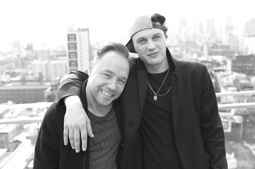 Michael Pitt on set with actor Stephen Graham