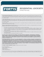 Fortis™ Residential Locksets Warranty