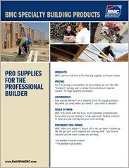 BMC Specialty Building Products Incentive Flyer