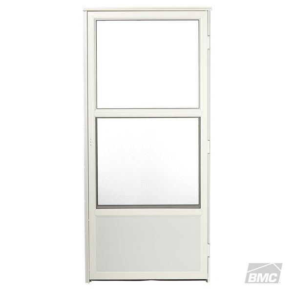 DoorTech Deluxe Self Storing Storm Door Right Hinge   White 2u00278