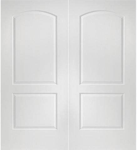 Prehung Interior Double Continental 2 Panel Arch Top Door W/ Astragal