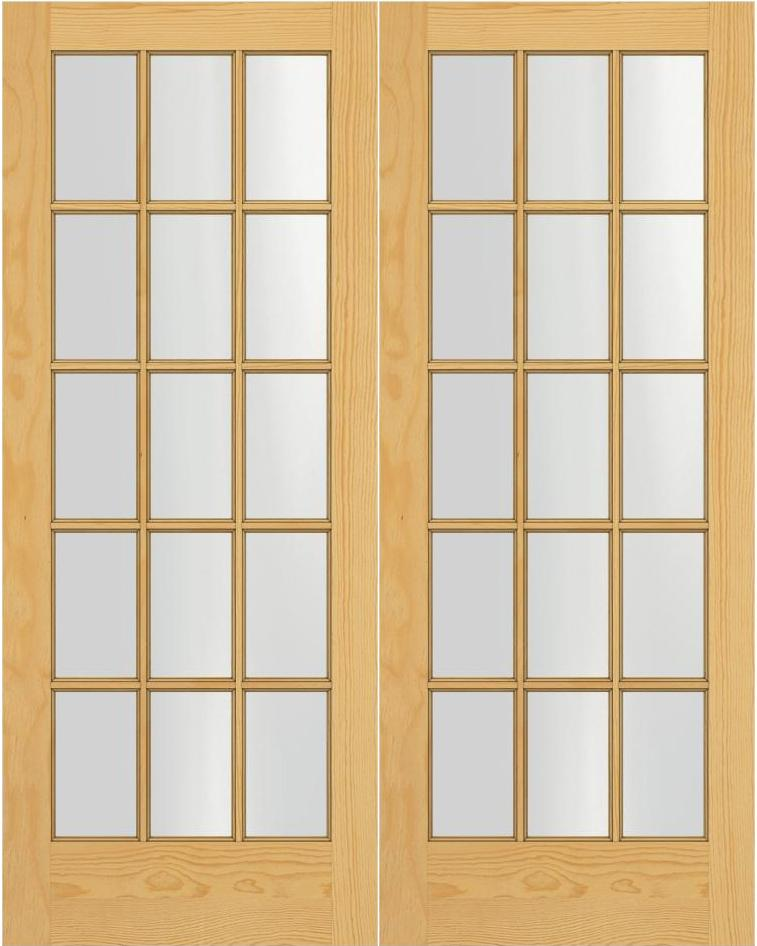 Prehung Interior Double French Door W/ Ball Catch 15 Lite Unfinished
