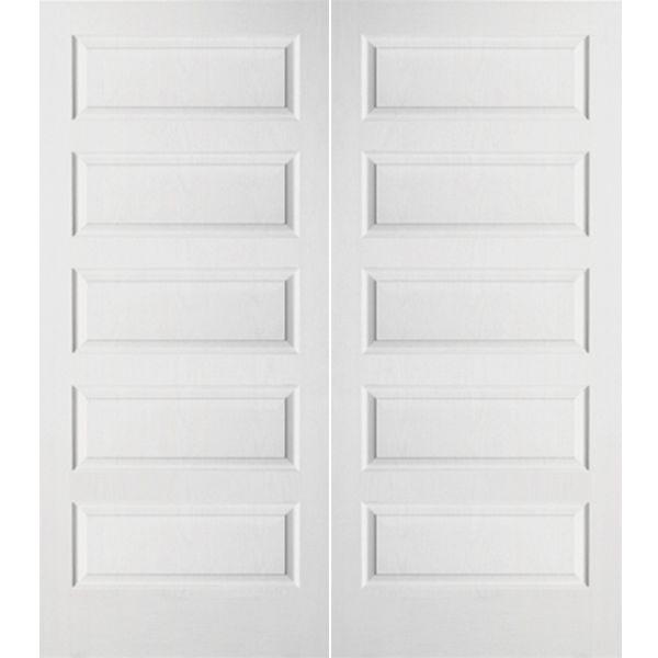Prehung Interior Double Doors prehung interior double rockport 5-panel door w/ astragal