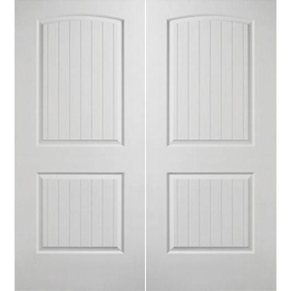 Prehung Interior Double Santa Fe 2 Panel Arch Top Door W/ Ball Catch