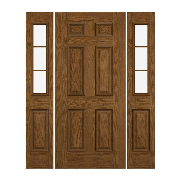 Prehung Exterior Steel 6 Panel Door W 3 Lite Low E Sidelites