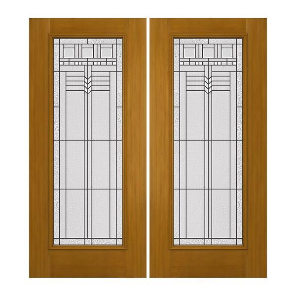 Prehung Exterior Design-Pro Double Doors w/ Full Oak Park Glass ...