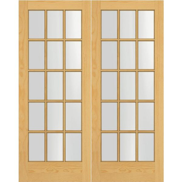 Prehung Interior Double French Door w/ Astragal 15-Lite Unfinished  sc 1 st  BMC & Prehung Interior Double French Door w/ Astragal 15-Lite Unfinished ...