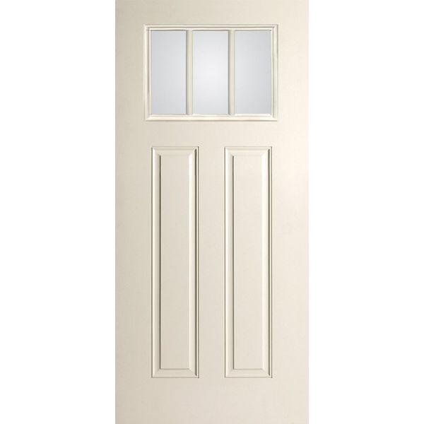 Single Smooth Star® 3 Lite Craftsman Door W/ Dentil Shelf