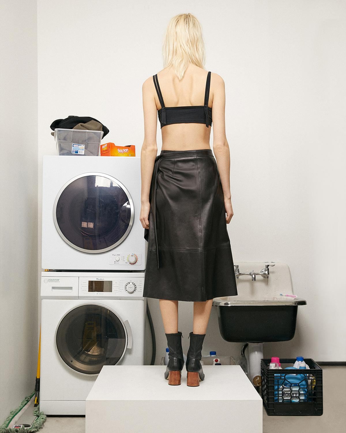 LEATHER DRAPE SKIRT