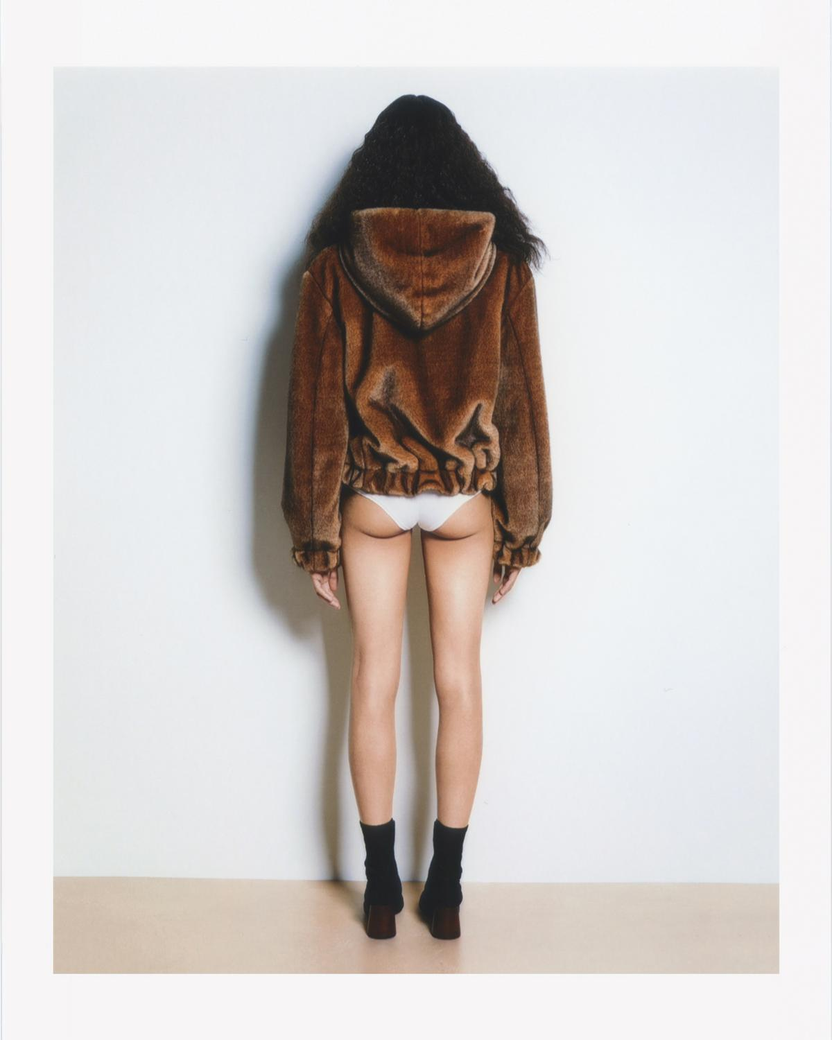 FURRY HOODED BOMBER