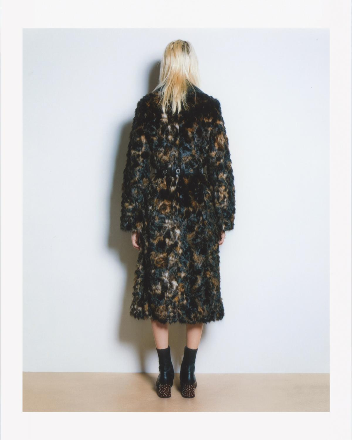 TORTOISE FAUX FUR COAT