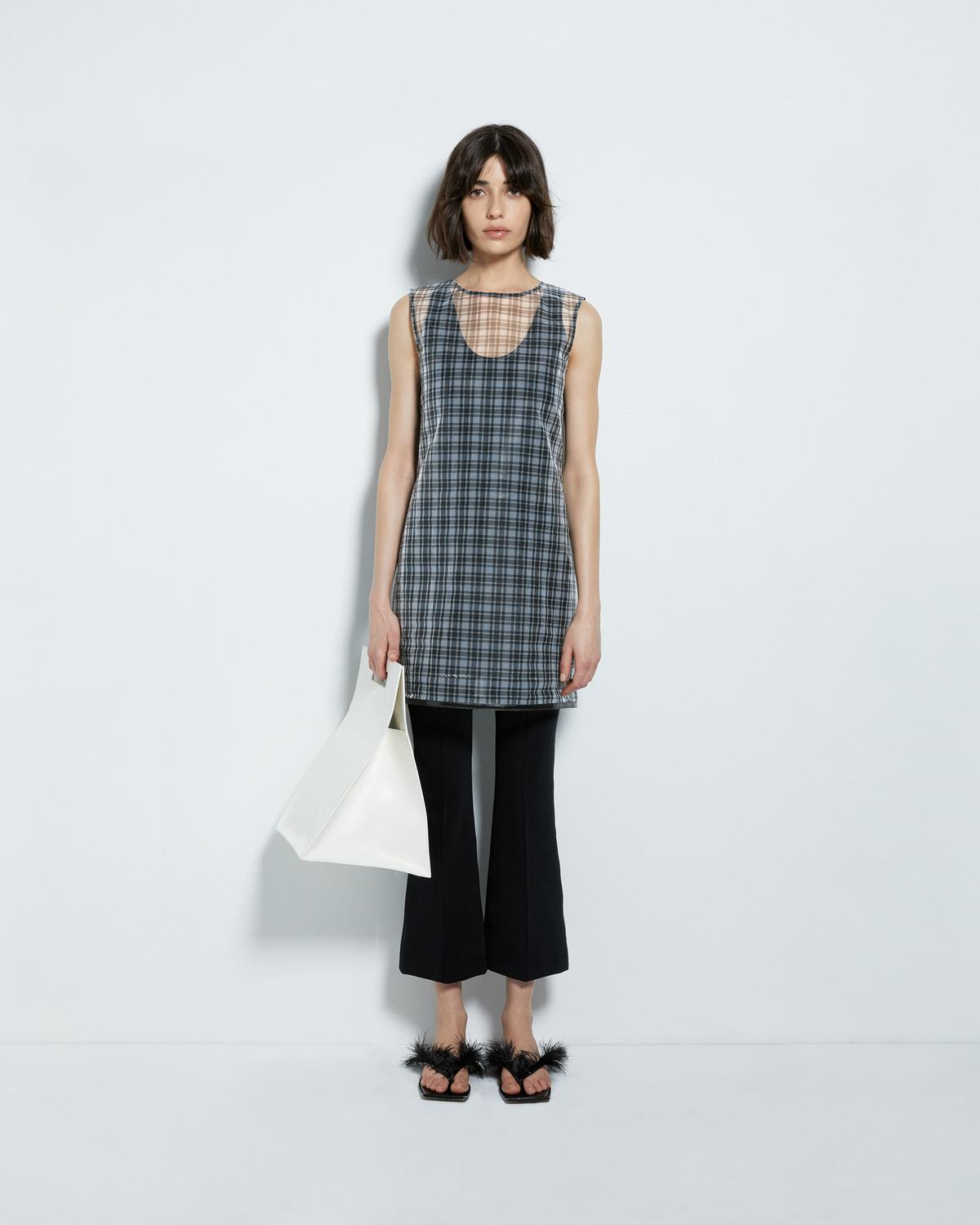CELLOPHANE PLAID SHELL DRESS