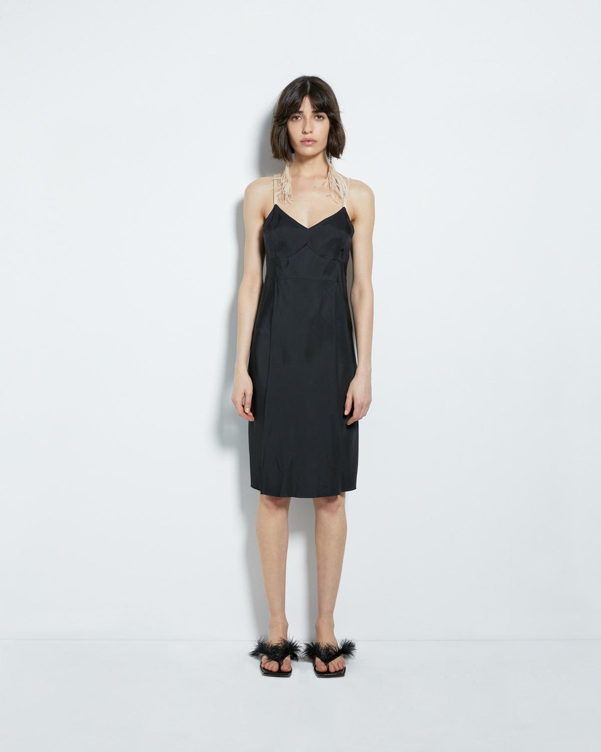 COMPACT VISCOSE SLIP DRESS