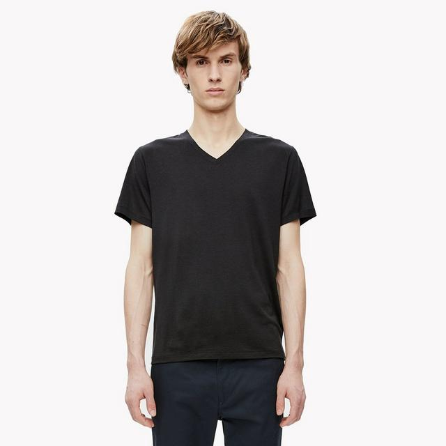 Silk-Cotton V-Neck Tee