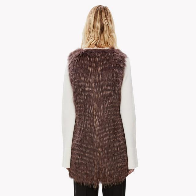 Collarless Fur Vest
