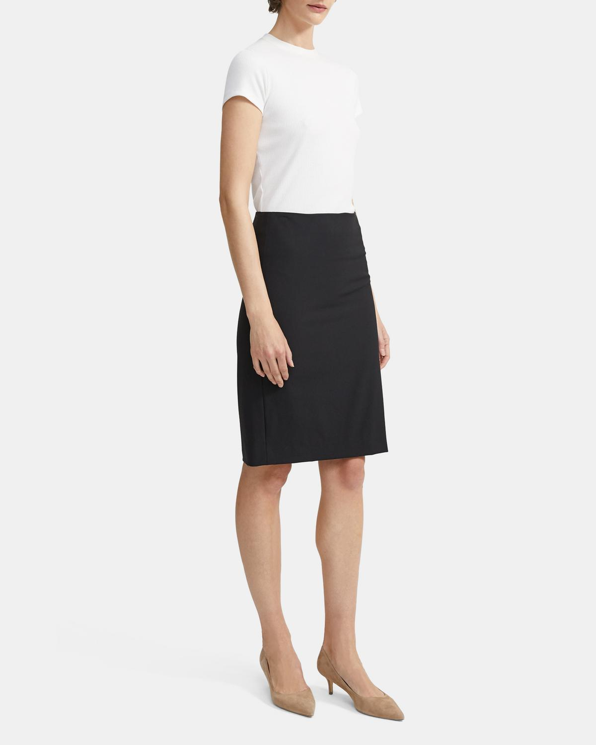 Theory Stretch Wool Pencil Skirt | Theory.com