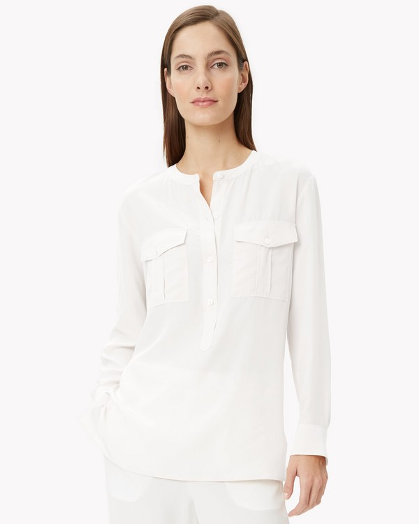 Silk Banded Collar Shirt