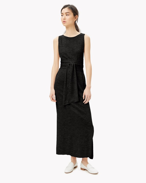 Linen Blend Tie-Front Dress