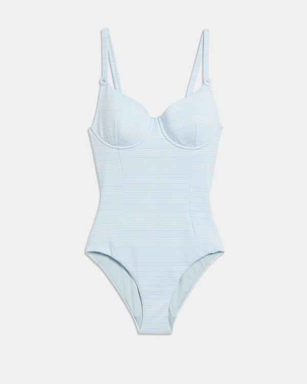 Onia x 띠어리 Theory Annalise One Piece Swimsuit,PIQUE STRIPE/BLUE STREAM