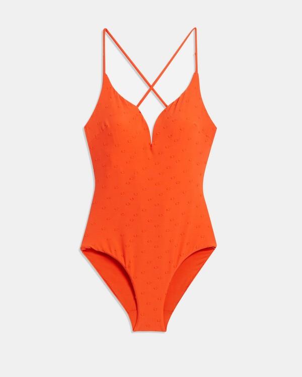 Onia x 띠어리 Theory Gloria One Piece Swimsuit,RELIEF PLUMETTI/FIRE OPAL