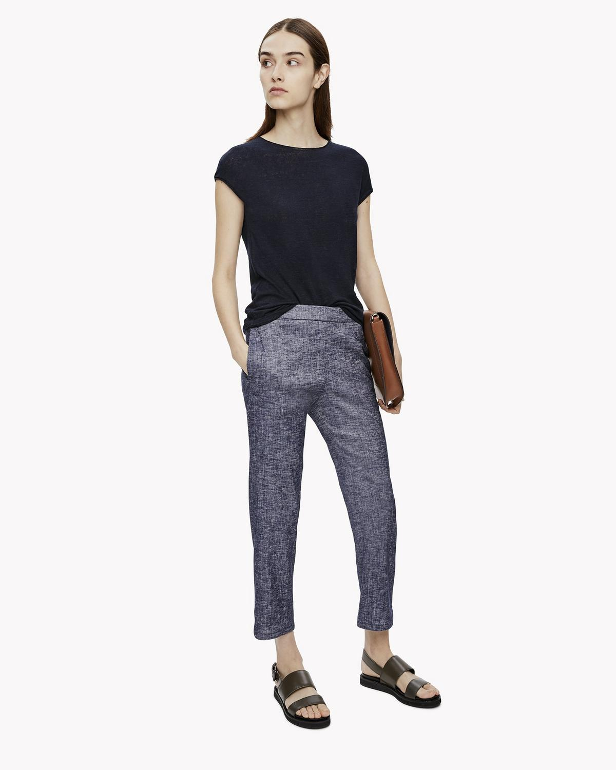 Stretch Linen Crop Pant
