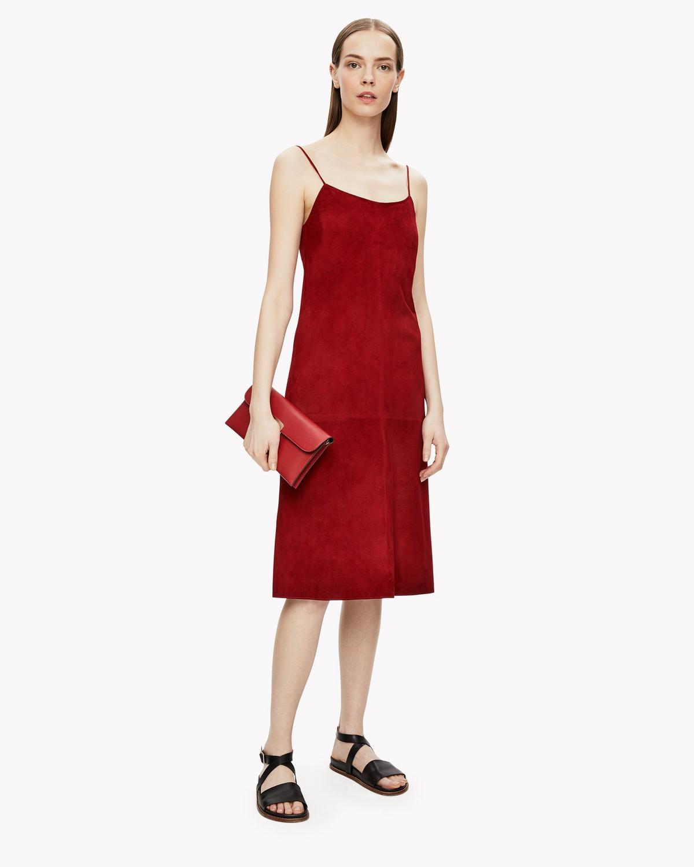 WOMAN SUEDE DRESS CLARET
