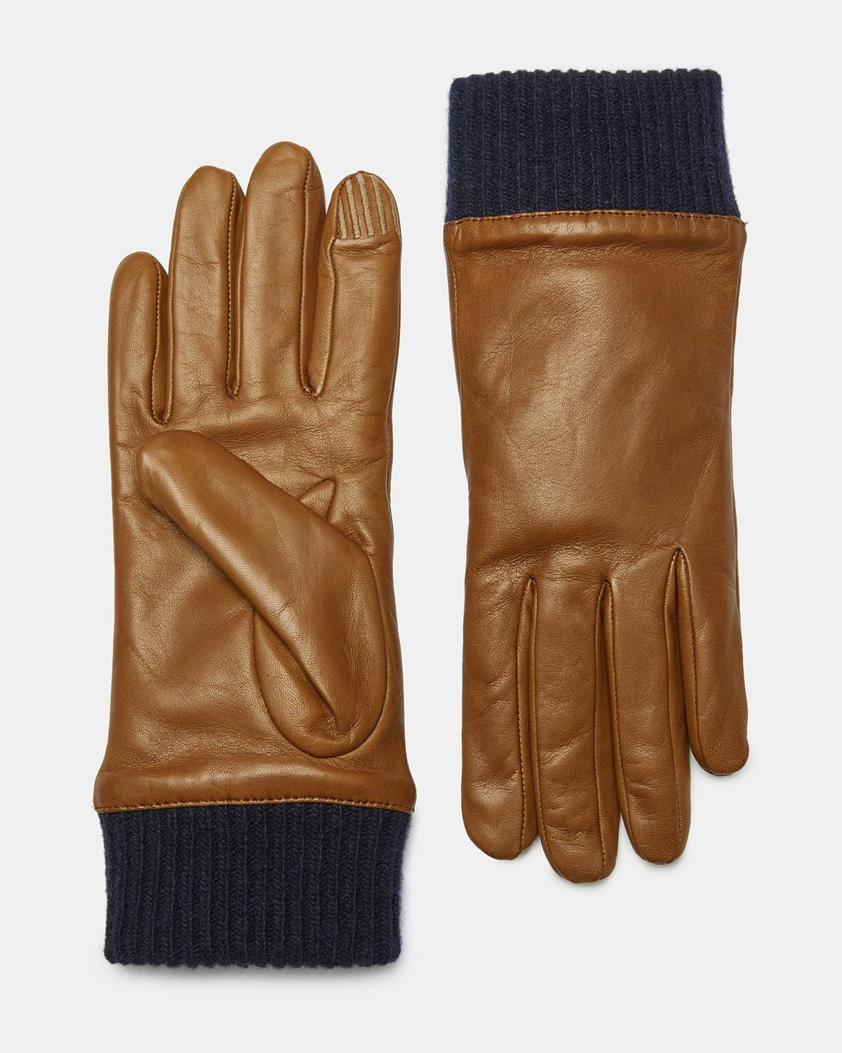LEATHER RIBBED CUFF GLOVES