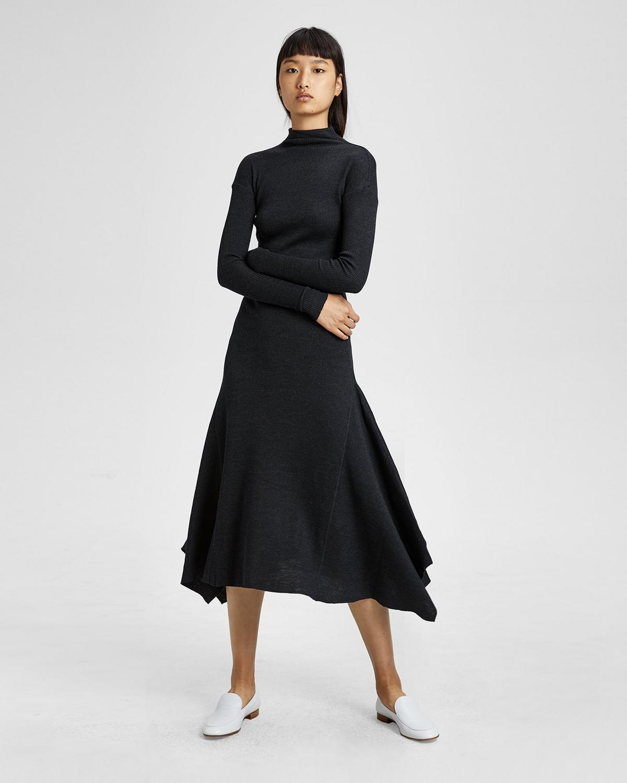 RIBBED KNIT PANEL DRESS