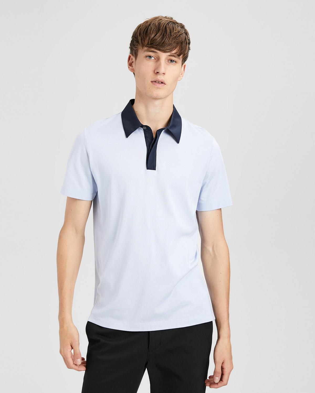 Contrast-Collar Polo
