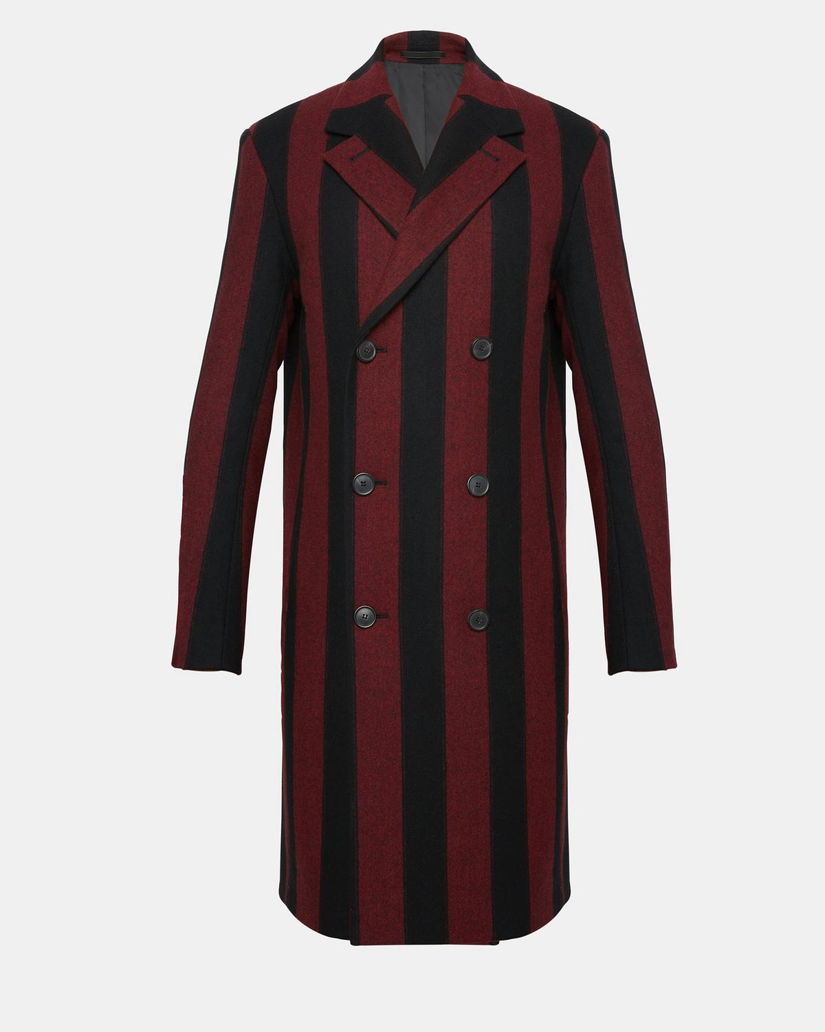 Wool Striped Double-Breasted Long Top Coat