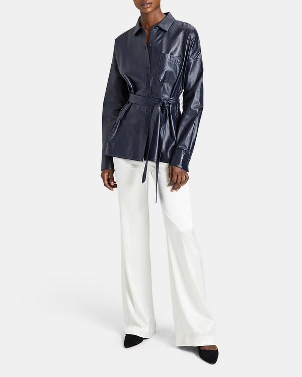 띠어리 드롭 숄더 가죽 자켓 네이비 Theory Paper Leather Drop-Shoulder Shirt,NAVY